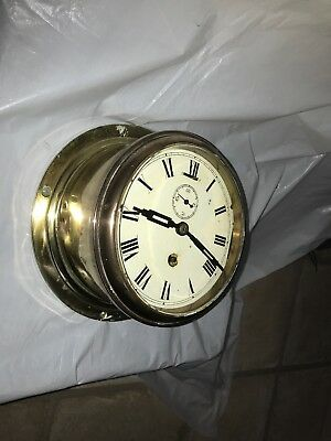 Antique Astral Ships Brass Clock Working Withe Key