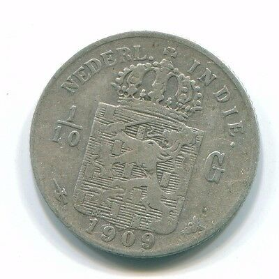 1909 Netherlands East Indies 1/10 Gulden Silver Colonial Coin Nl13241#3