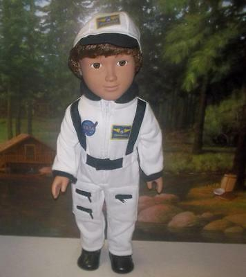 "Astronaut flight suit jumpsuit+hat+boots fits 18/"" American girl or boy doll NASA"
