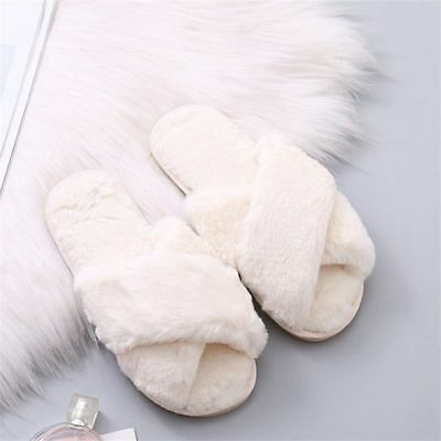 Crossed Fuzzy Plush Slippers Warm Winter Shoes Indoor Women Faux Fur Flats