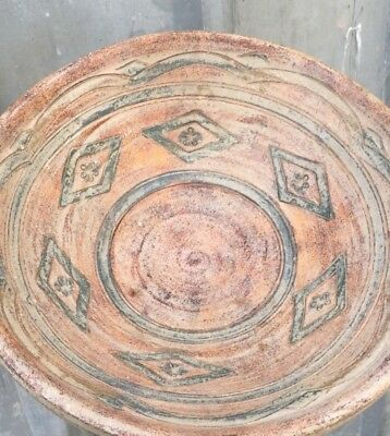 ANTIQUE 19`c ISLAMIC Ottoman Empire Handmade Pottery Dish Bowl