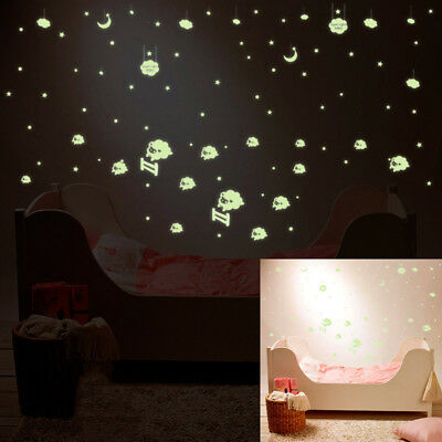 Removable Glow in the Dark Sheep Wall Sticker Vinyl Decal Baby Kids Bedroom Deco