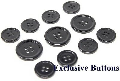 Black Mother Of Pearl Buttons Set (MOP) For Suit, Blazer, or Sport coat