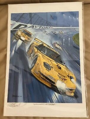 "SIGNED ART PRINT by WARRICK 2001 24 Hours Race ""EARNHARDTS AT DAYTONA"" Corvette"