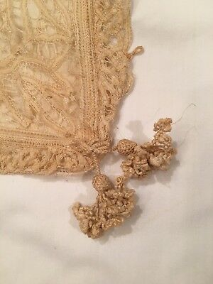 Antique – Duchesse Lace Pillow Cover.  Hand Crocheted Tassles!  Charming!! Ecru.