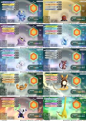 Pokemon Let's Go Pikachu & Eevee All 10 6iv shiny alolan pokemon