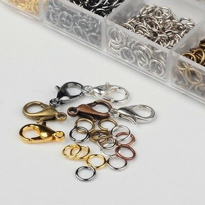 1 Box Kit 6 Color 12*7*3mm Alloy Lobster Claw Clasps & 5mm Iron Jump Rings