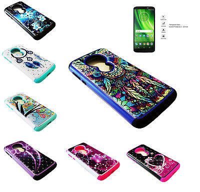 Tempered Glass+Sparkle Case Cover For Motorola Moto E5 XT1920DL/G6 Play/G6 Forge
