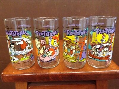 Vintage Set Flintstones Glasses Hardee's 1991 Cartoon Hanna Barbera