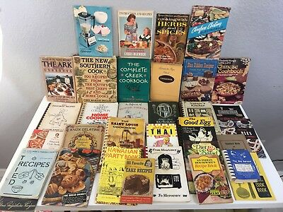 Mixed Lot 35+ Mostly Vintage Cookbooks & Booklets 1913 - 2000 HC PB Some Signed