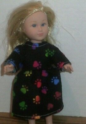 "6/6.5"" Doll Clothes-fit Mini American Girl My Life-Nightgown-Paw Print"