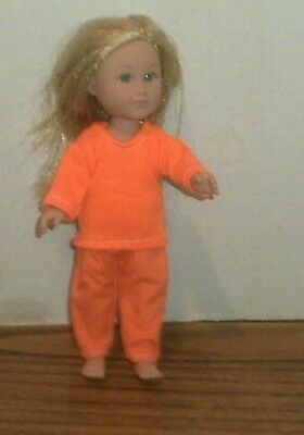 Doll Clothes-fit Mini American Girl Boy My Life-Top & Pants-Both Orange