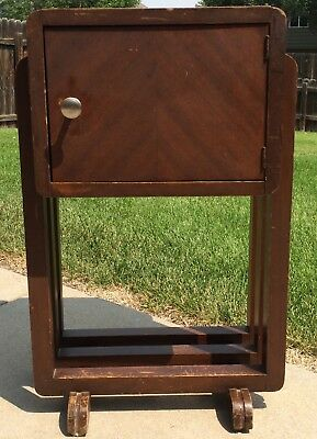 Antique Vintage Art Deco Wooden Copper Lined Cigar Tobacco Humidor Smoking Stand