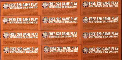 12 Dave and Busters D&B $20 gameplay with same purchase powercard EXP 06/30/2019