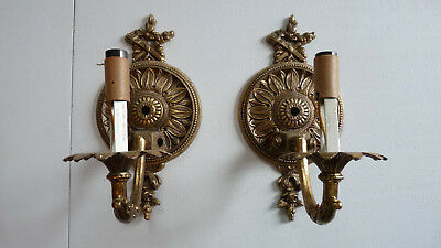 Pair of Antique Wall Lights Cast Brass Very Ornate