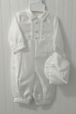 Baby Boys Christening Outfit Formal Romper Solid White Matching Cap Hat Long