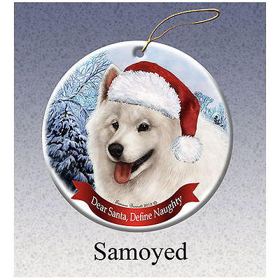 Samoyed Howliday Porcelain China Dog Christmas Ornament