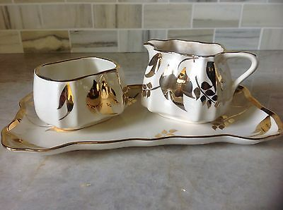 Sandland Ware Set, Creamer, Sugar and Tray Staffordshire England with Gilding