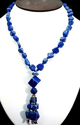 Antique Top Grade Royal Old Blue Lapis Bead Square Water Fall Dangle Necklace