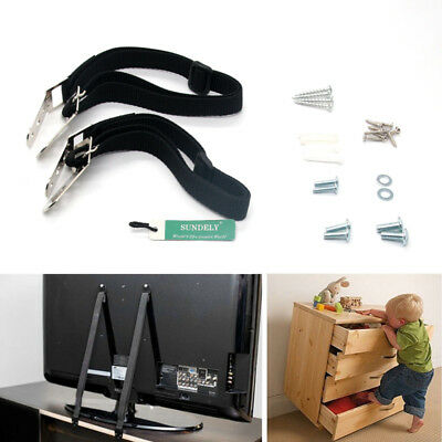 Baby Safety Furniture & TV Anti Tip Wall Straps Anchors Metal Child Proofing