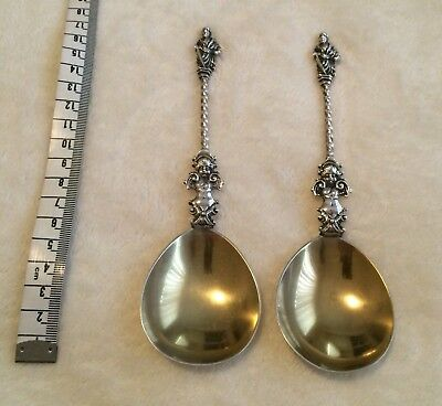 Antique Gilded William Huton 1896 London Large Sterling Silver Apostle Spoons