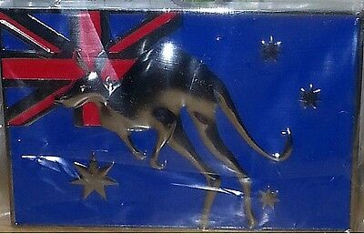 METAL CAR BADGE - AUSSIE FLAG with KANGAROO - BRAND NEW - FREE POSTAGE