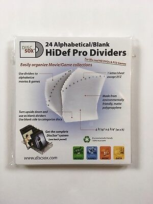 DISCSOX 24 HiDEF PRO DIVIDERS- ALPHABETICAL/BLANK - BRAND NEW!