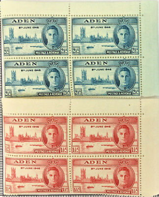 2 x BLOCK OF 4 ADEN 8th JUNE 1946 STAMPS MNH