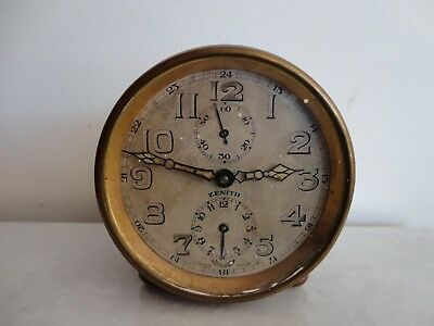 Antique Zenith Swiss brass alarm clock parts/repairs only