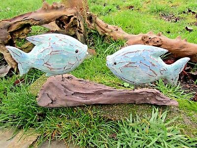 Fair Trade Hand Made Carved Wooden Tropical Sea Marine Fish Statue Ornament