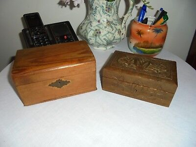 2 Vintage/antique Wooden Boxes - Collectable Treen