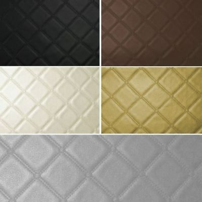 Trellis Diamond Vinyl Quilted Style Leatherette Faux Leather Upholstery Fabric