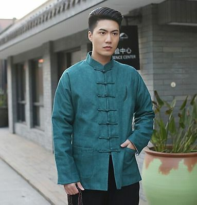 73d101235e Handsome Chinese Men s cotton clothing jacket coat Green SZ  M L XL XXL XXXL