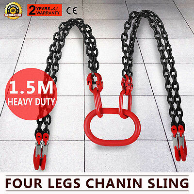 5FT Chain Sling quad Legs 5t Capacity Chain Block Grab Hooks Orrosion Resistance