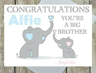Personalised Big Brother Congratulations Card New Baby Multi Elephant