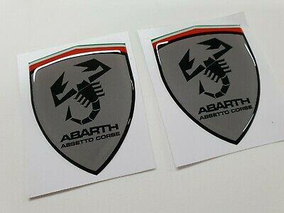 Fiat 500 595 abarth assetto course domed gloss wing badges 60mm Stickers Decals