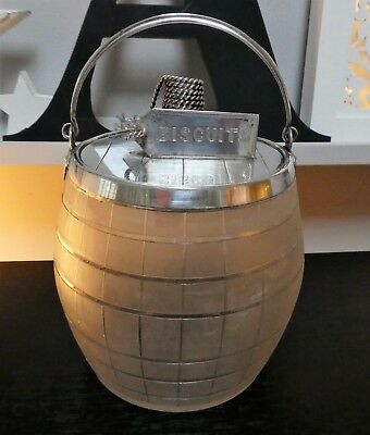 Stunning Silver Plate & Frosted Glass Biscuit Barrel Aesthetic Edwardian Period