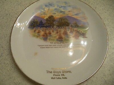 Vintage Advertisng Plate~The Boys Store~Phone 29~Wall Lake, Iowa