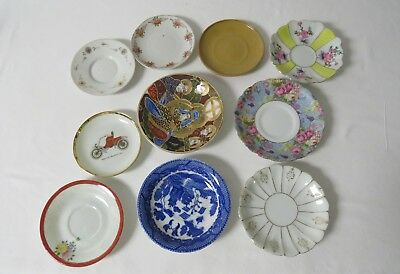 (9) miniature plates mixed sizes,patterns & makers Unoccupied Japan,& Others