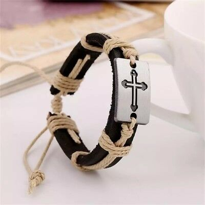 Valentine Gift Friendship Genuine Leather Braided Bracelet Wristband Men Ladies