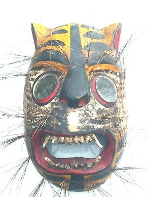 Mexican Hand Carving Wood mask  Jaguar / tigre, Mexico Folks art dancing mask