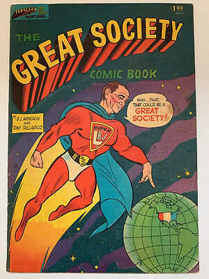 The Great Society Comic Book, 1966 with SUPER LBJ on the cover, poor condition