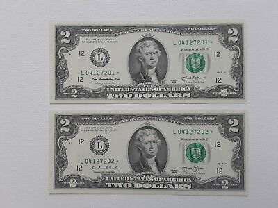 2013 Two Sequential $2 STAR  (San Francisco, CA) Notes - Crisp Uncirculated