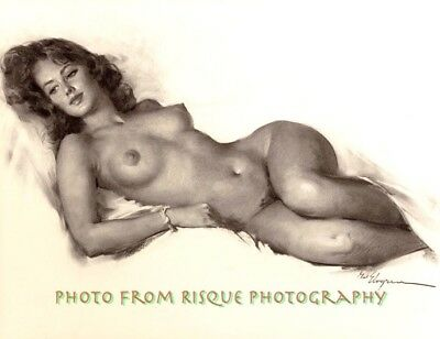 "Nude Woman Drawing 8.5x11"" Photo Print Soft Naked Female Gil Elvgren Pinup Art"