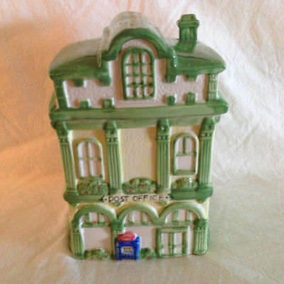 Vintage Post Office Cookie Jar Cottage  Victorian Canister Ceramic Collectible