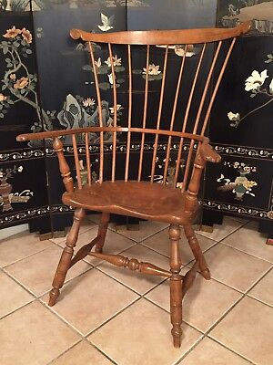 Antique Fan Back Windsor Arm Chair 18th c Old Wooden Furniture Americana USA Art