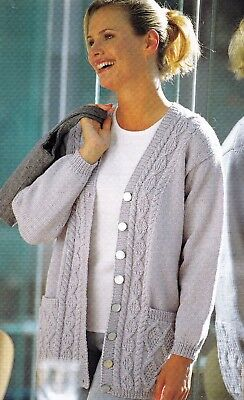 1c6111a43b29f2 LADIES ~CARDIGAN~SWEATER~ARAN~DOUBLE KNIT~ Knitting Pattern Size 32 ...
