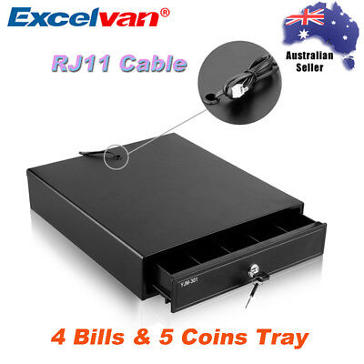 Heavy Duty Cash Drawer Electric Register Till Box POS 4Bills & 5 Coins Tray RJ11