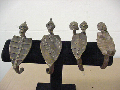 Lot Of 4 African Art  Dogon   Bronze  Bracelet  - Mali