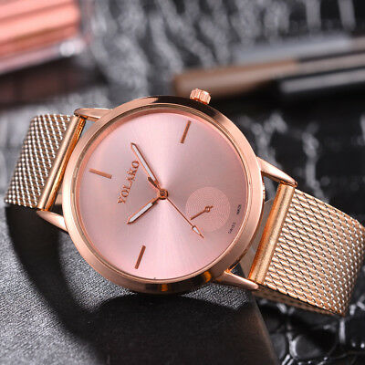 Fashion Women Hardness Glass Alloy Mesh Belt Watch Analog Quartz Wrist Watches